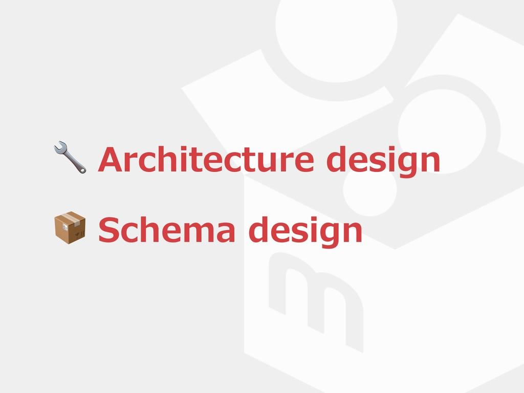 Architecture design  Schema design