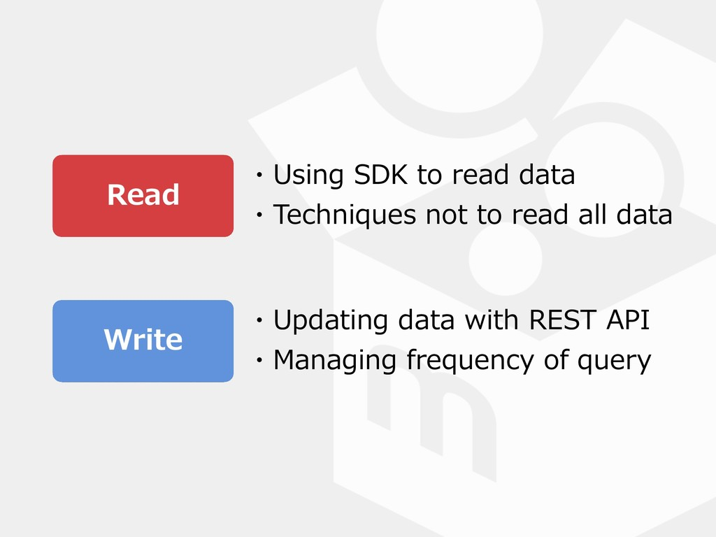 Read Write ・Using SDK to read data ・Techniques ...
