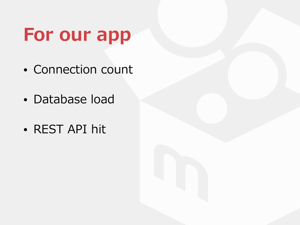 For our app • Connection count • Database load ...