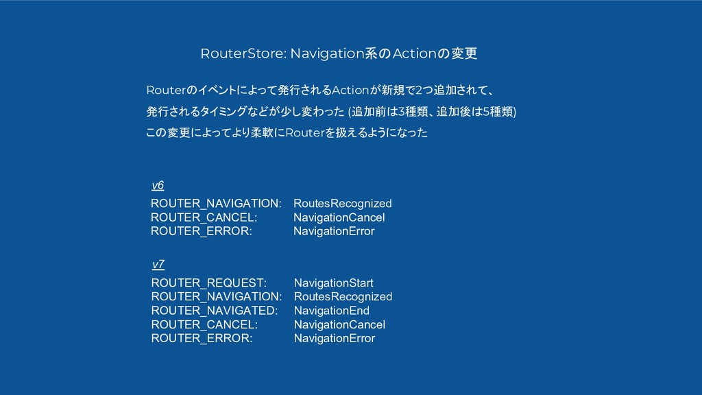 RouterStore: Navigation系のActionの変更 Routerのイベントに...