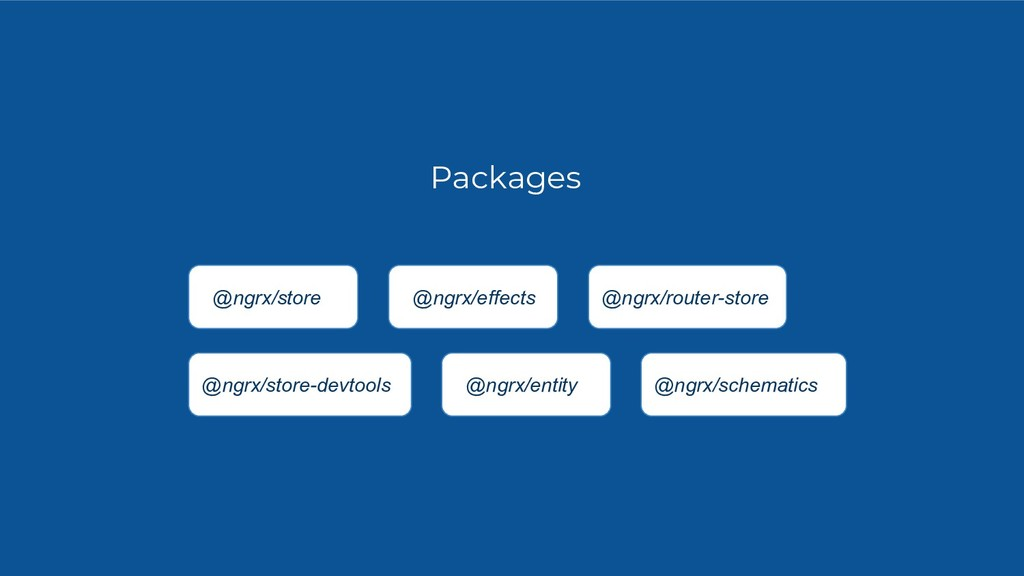Packages @ngrx/store @ngrx/effects @ngrx/router...