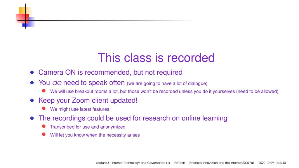 This class is recorded Camera ON is recommended...