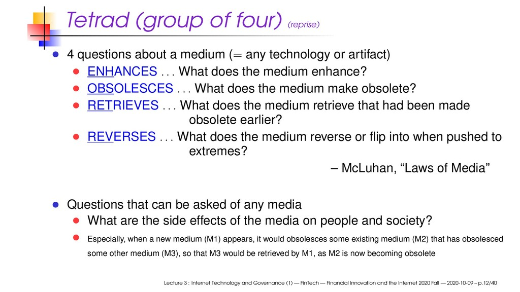 Tetrad (group of four) (reprise) 4 questions ab...