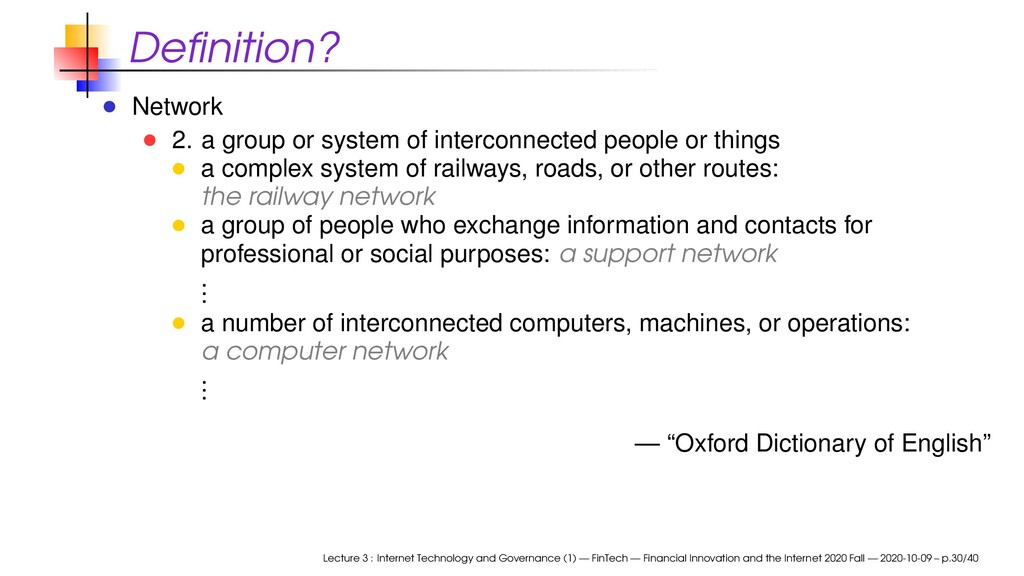 Definition? Network 2. a group or system of inte...