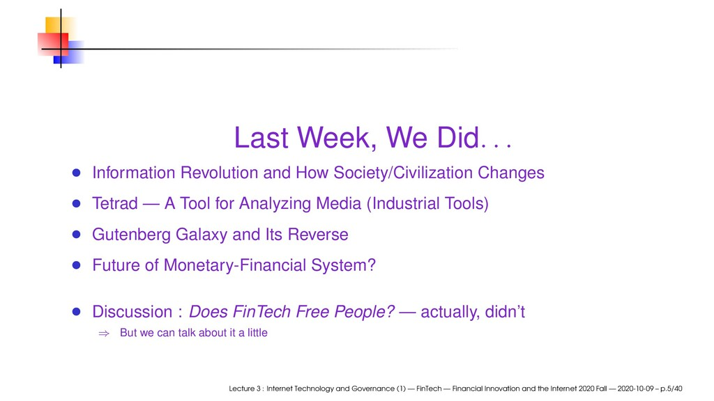 Last Week, We Did . . . Information Revolution ...