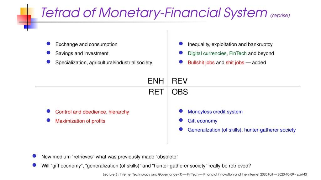 Tetrad of Monetary-Financial System (reprise) E...