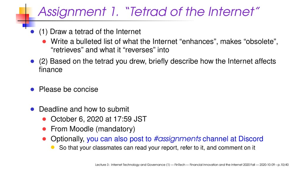 """Assignment 1. """"Tetrad of the Internet"""" (1) Draw..."""