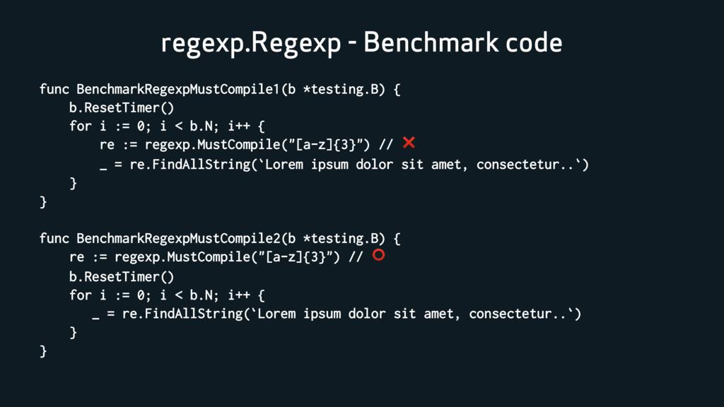 regexp.Regexp - Benchmark code func BenchmarkRe...