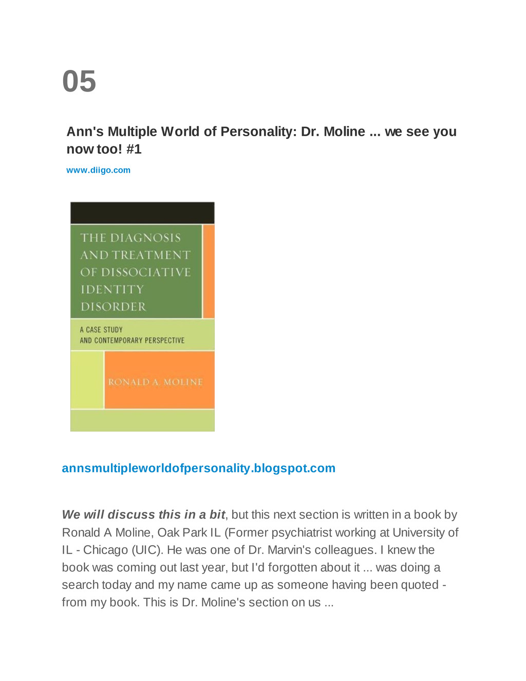 05 Ann's Multiple World of Personality: Dr. Mol...