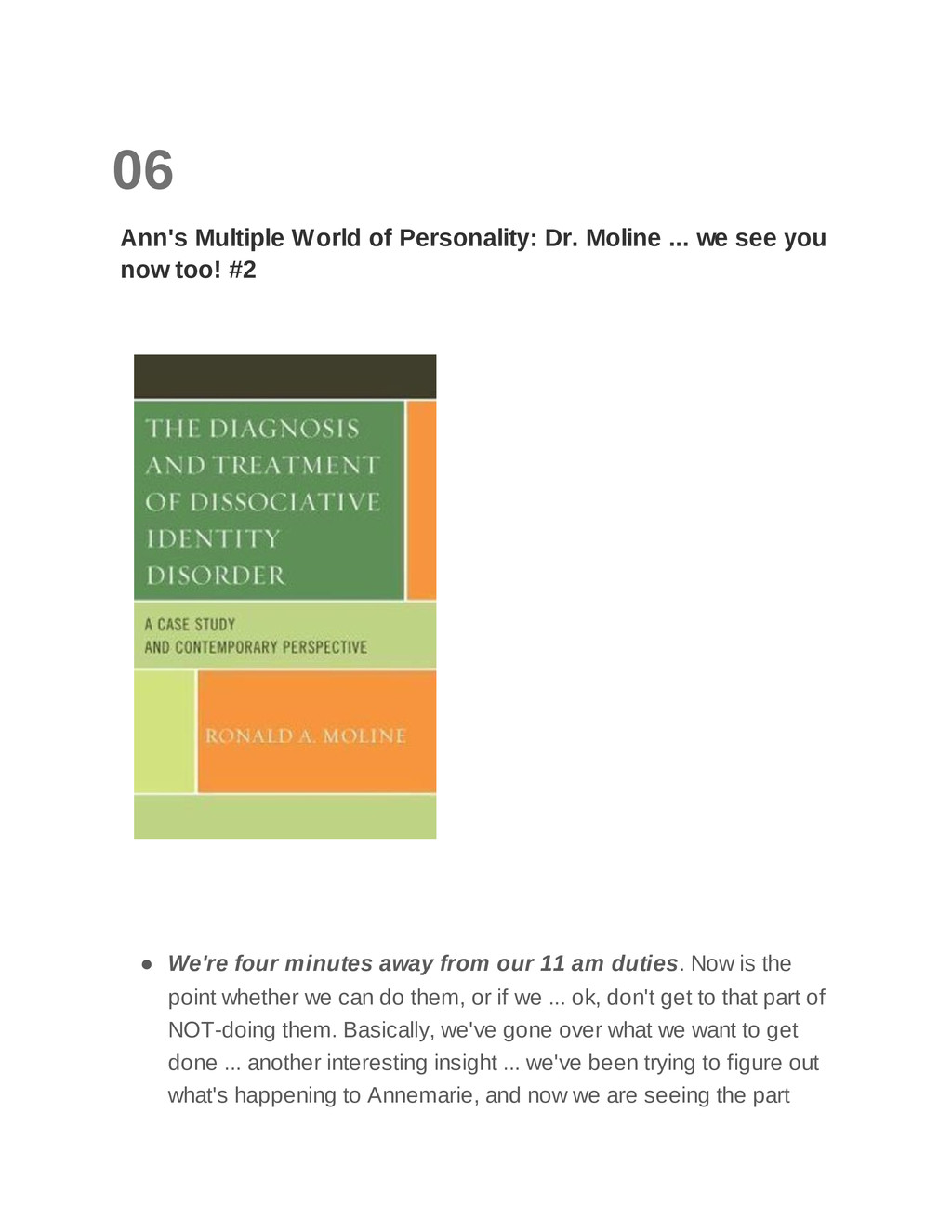06 Ann's Multiple World of Personality: Dr. Mol...