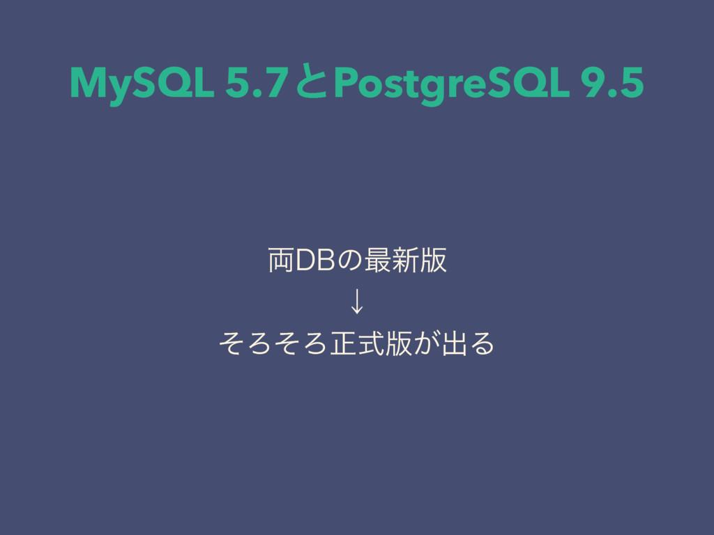 MySQL 5.7ͱPostgreSQL 9.5 ྆%#ͷ࠷৽൛ ˣ ͦΖͦΖਖ਼ࣜ൛͕ग़Δ