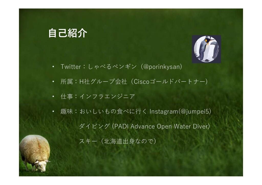 自己紹介 • Twitter:しゃべるペンギン(@porinkysan) • 所属:H社グルー...