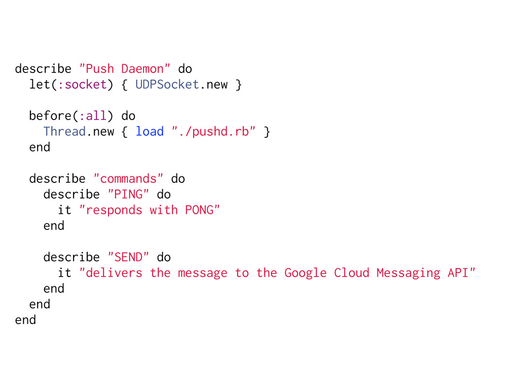 "describe ""Push Daemon"" do let(:socket) { UDPSoc..."