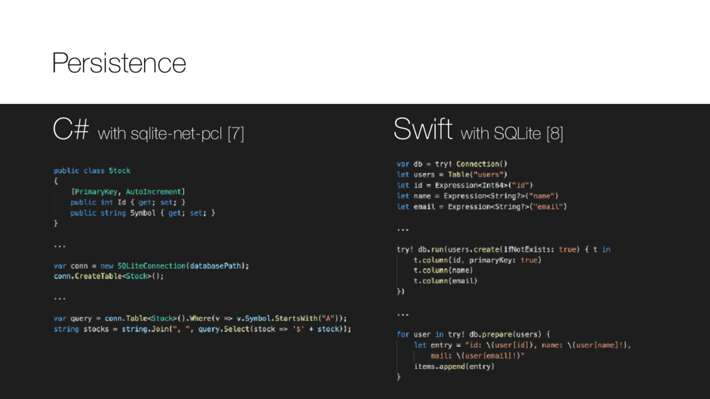 C# with sqlite-net-pcl [7] Swift with SQLite [8...