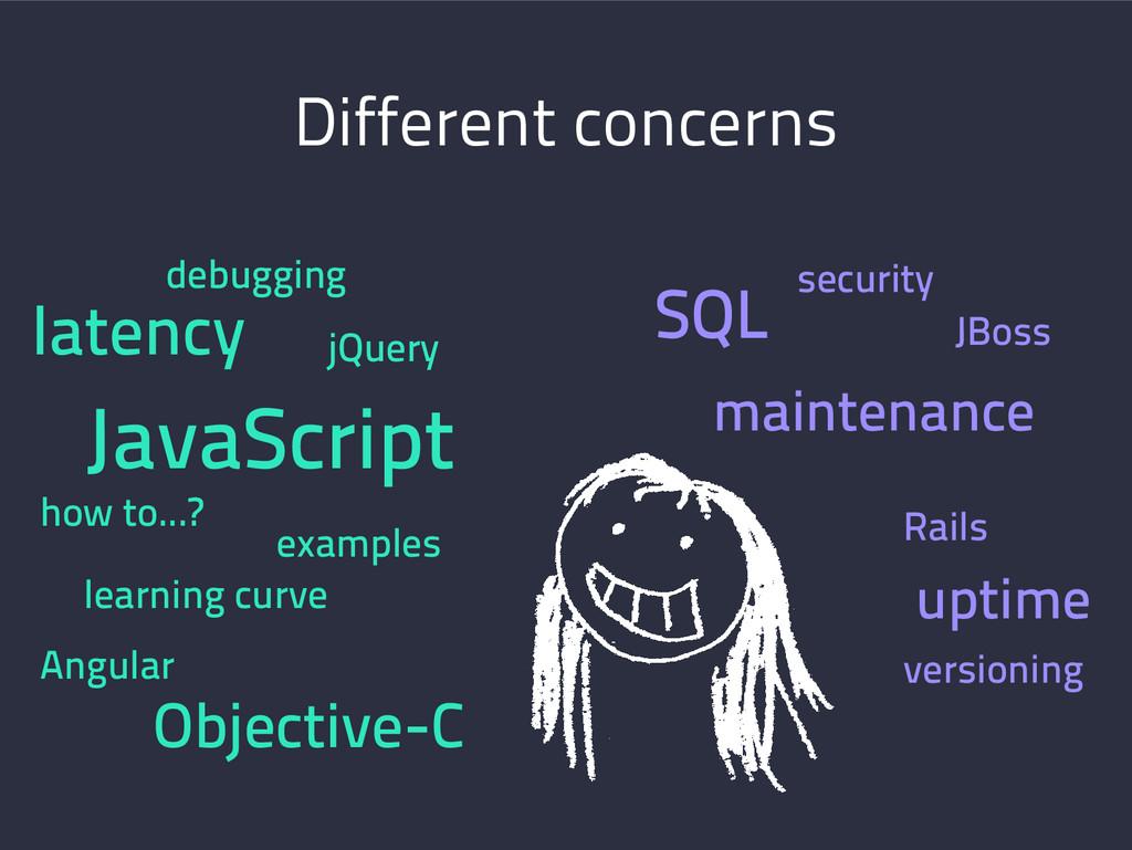 Different concerns SQL JBoss Rails maintenance ...