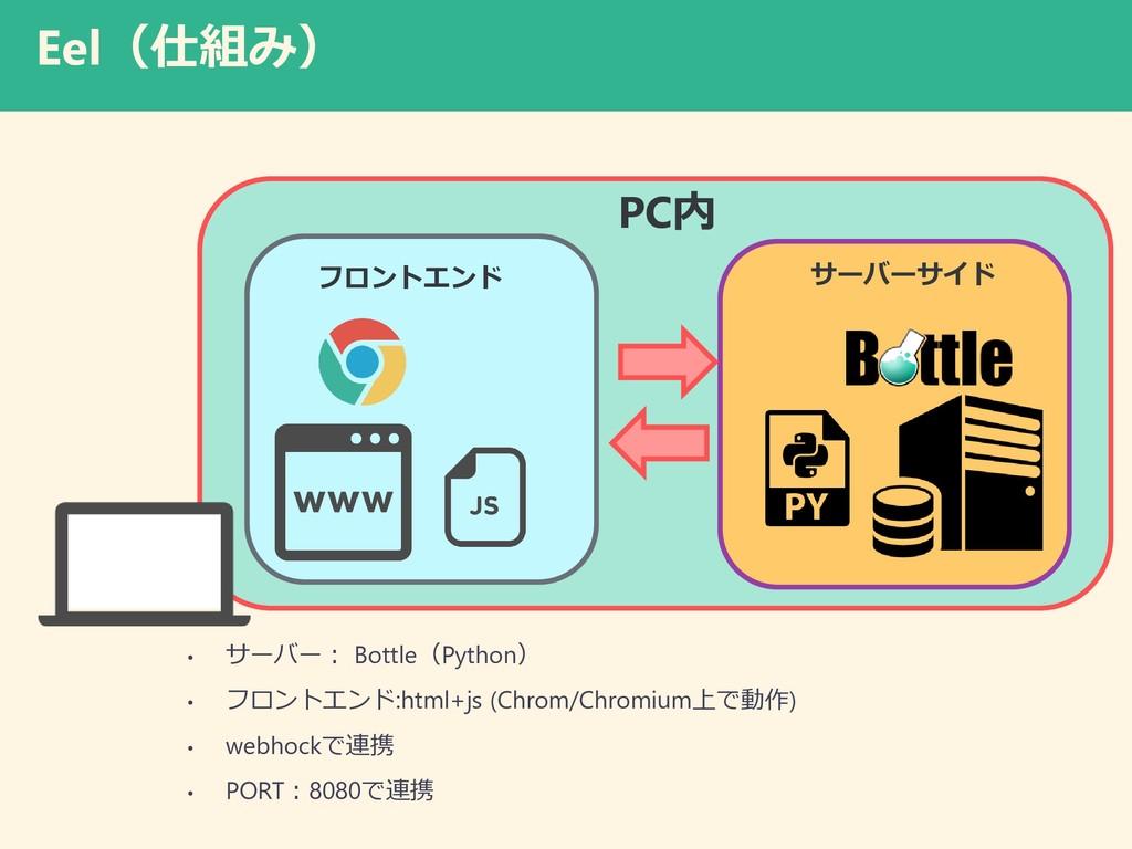Eel(仕組み) • サーバー: Bottle(Python) • フロントエンド:html+...