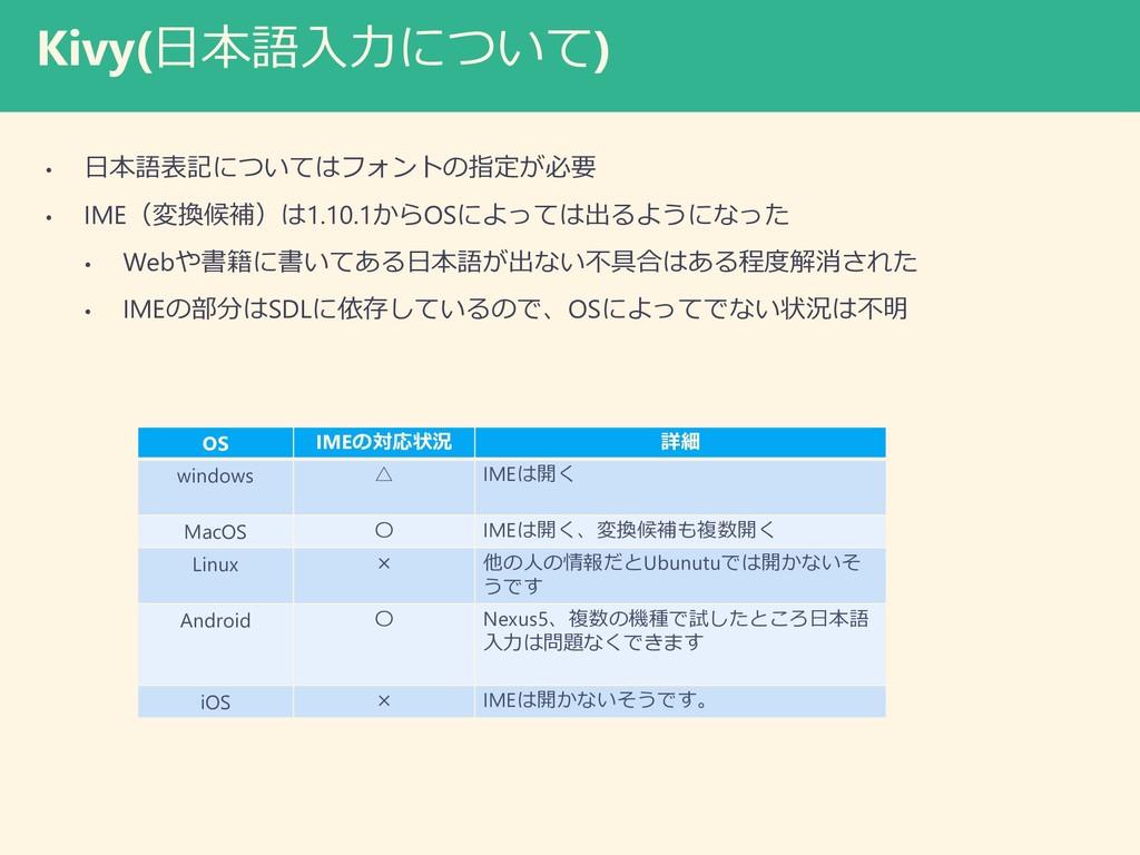 Kivy(日本語入力について) • 日本語表記についてはフォントの指定が必要 • IME(変換...