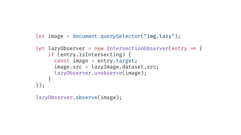 "let image = document.querySelector(""img.lazy"");..."