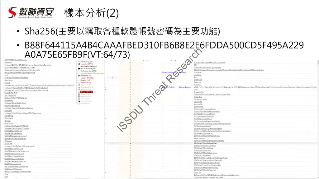 樣本分析(2) • Sha256(主要以竊取各種軟體帳號密碼為主要功能) • B88F6441...