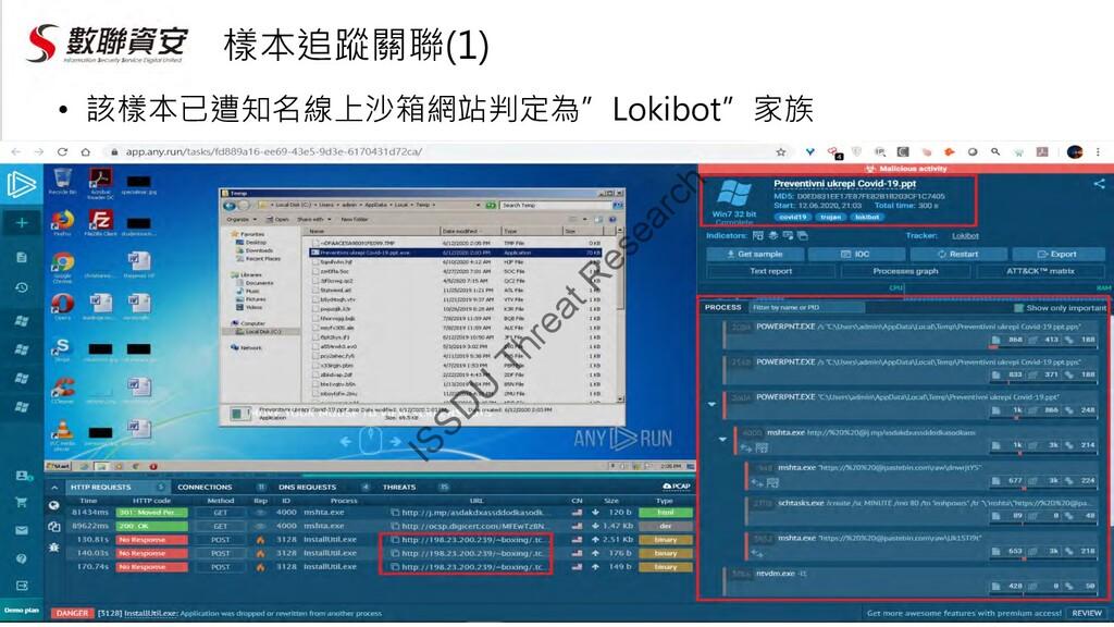 """樣本追蹤關聯(1) • 該樣本已遭知名線上沙箱網站判定為""""Lokibot""""家族 ISSD U ..."""
