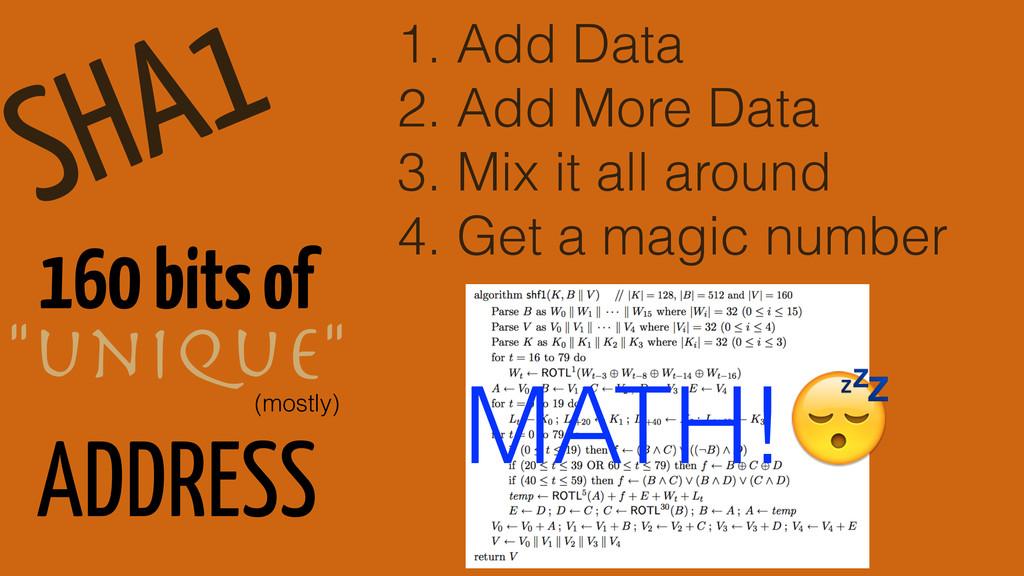 SHA1 1. Add Data 2. Add More Data 3. Mix it all...