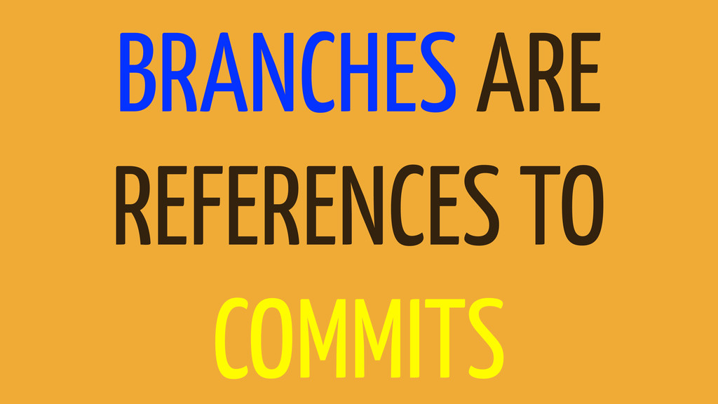 BRANCHES ARE REFERENCES TO COMMITS