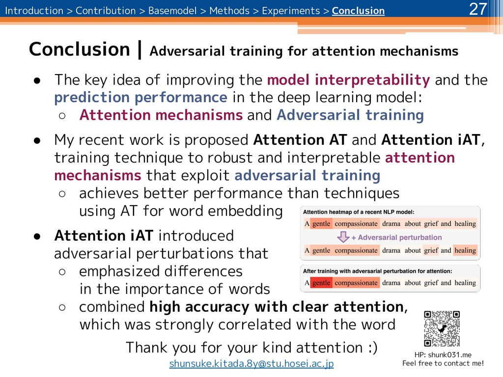 Conclusion | Adversarial training for attention...