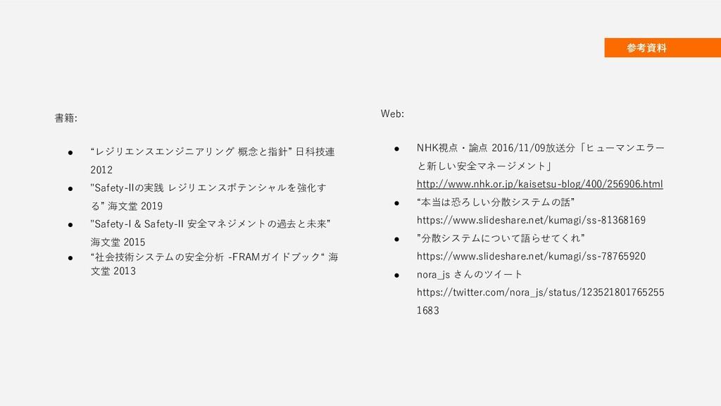 """参考資料 書籍: ● """"レジリエンスエンジニアリング 概念と指針"""" 日科技連 2012 ● """"..."""
