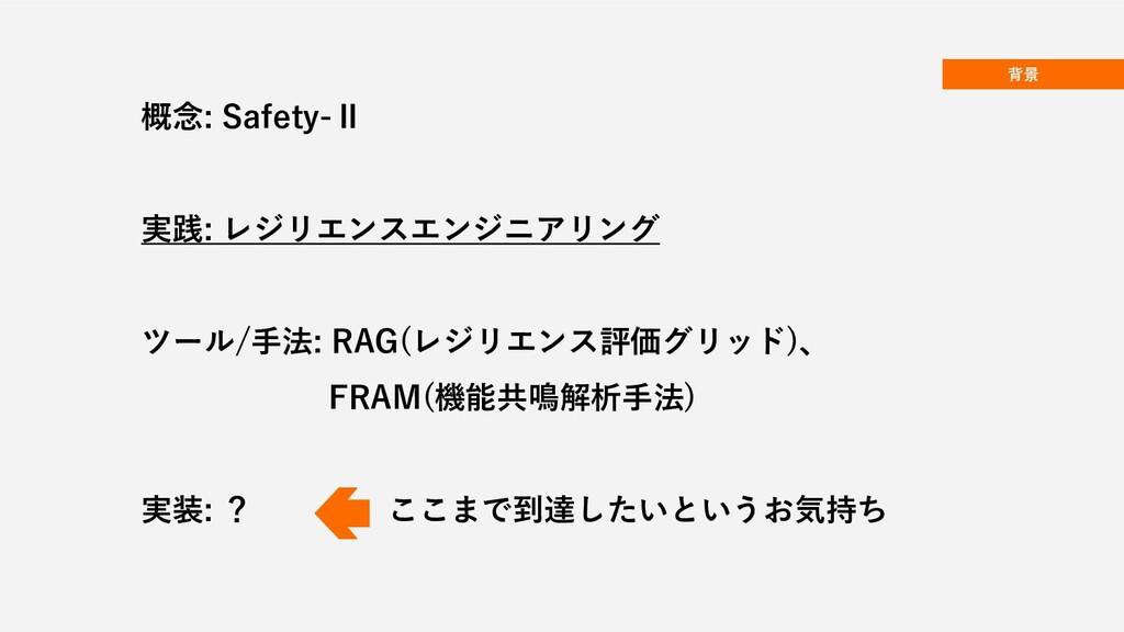 背景 概念: Safety-Ⅱ 実践: レジリエンスエンジニアリング ツール/手法: RAG(...