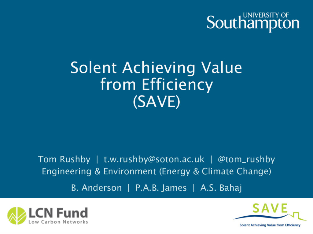 Solent Achieving Value from Efficiency (SAVE) T...