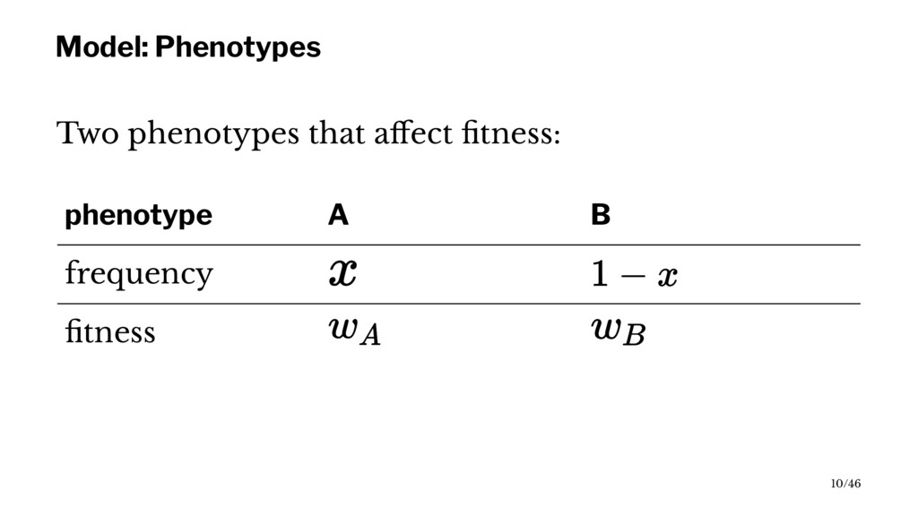 Model: Phenotypes Two phenotypes that affect fitn...