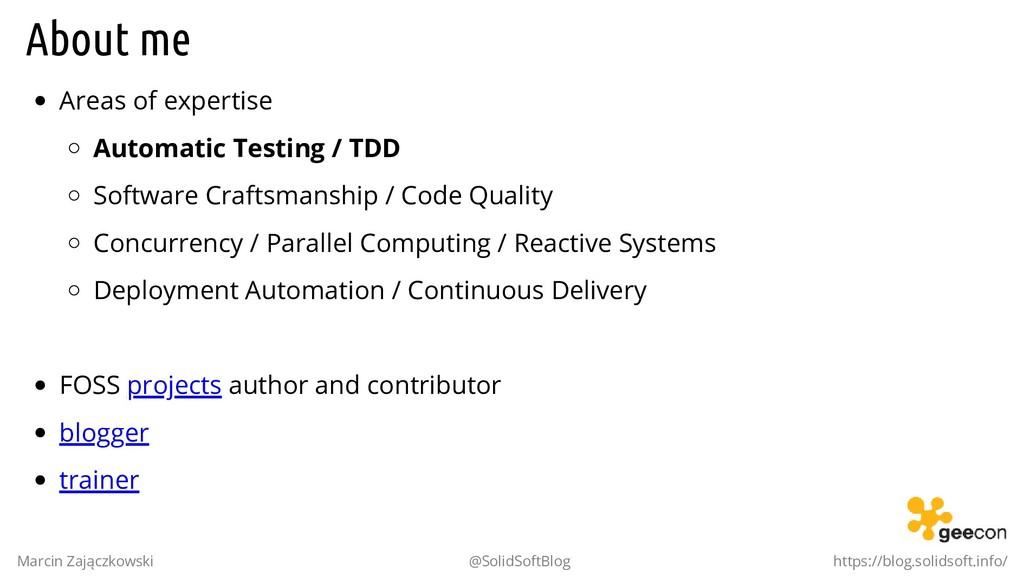 About me Areas of expertise Automatic Testing /...