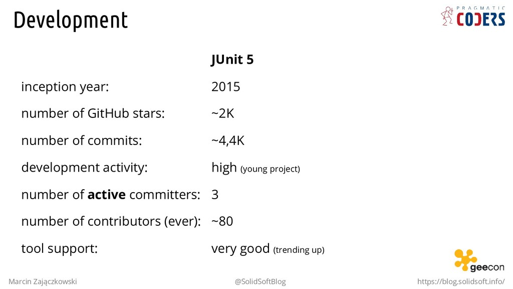 . inception year: number of GitHub stars: numbe...