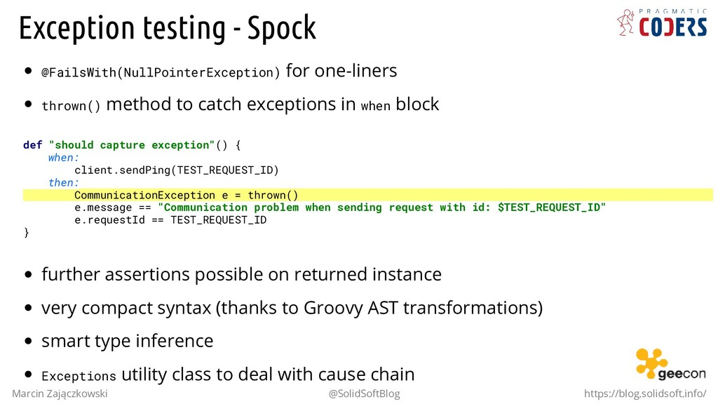 Exception testing - Spock @FailsWith(NullPointe...
