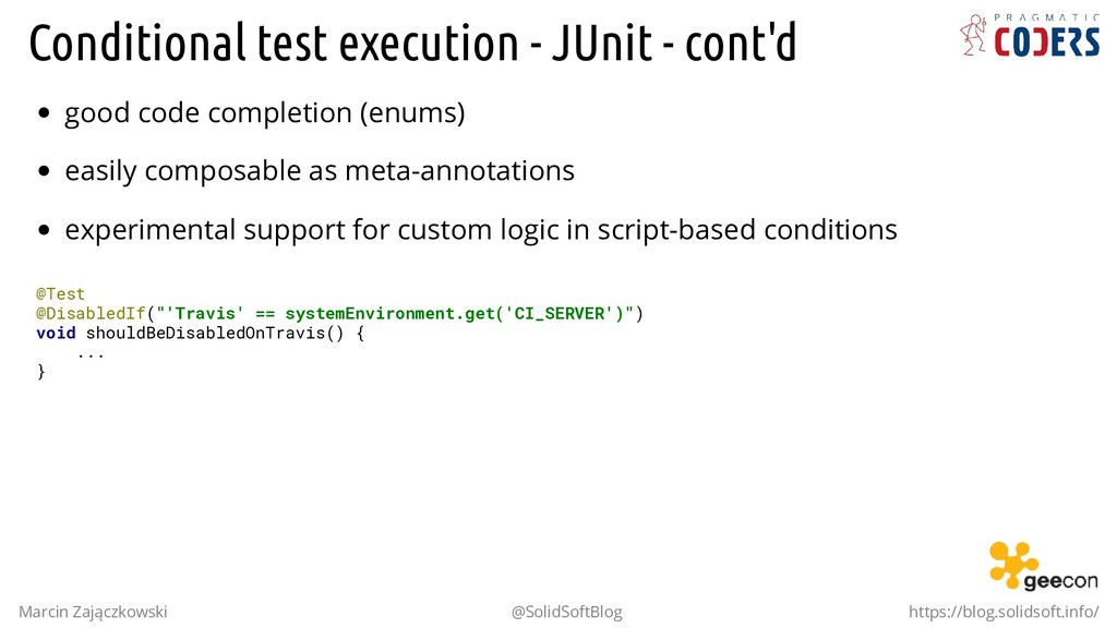 Conditional test execution - JUnit - cont'd goo...