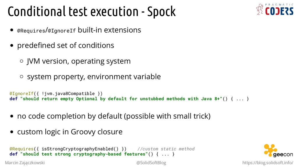 Conditional test execution - Spock @Requires/@I...