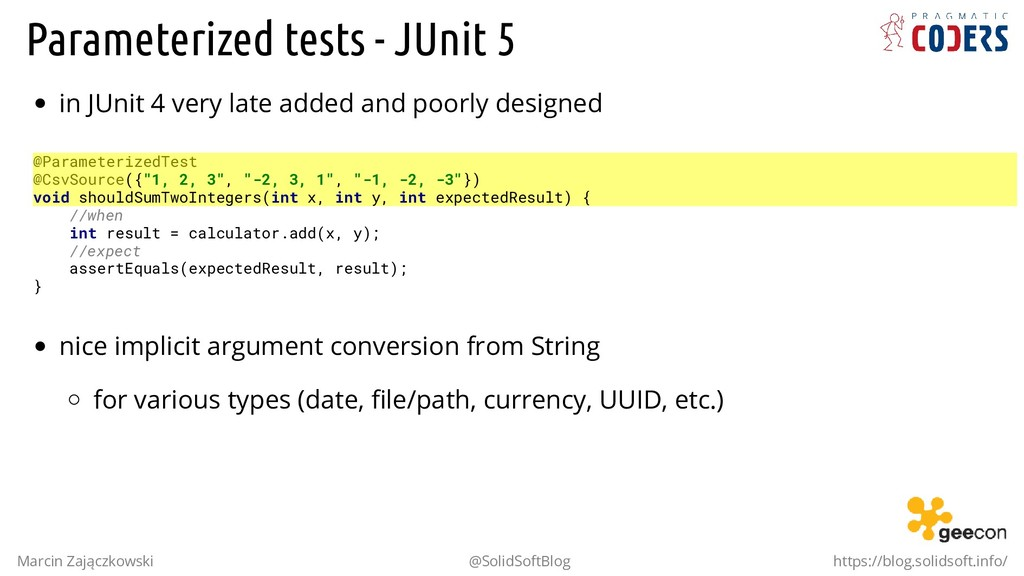 Parameterized tests - JUnit 5 in JUnit 4 very l...