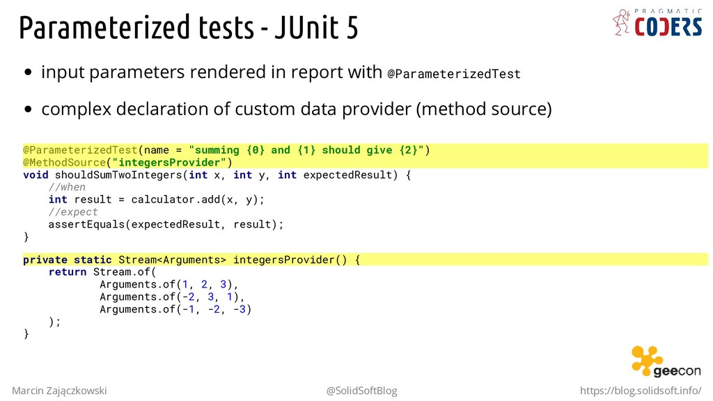 Parameterized tests - JUnit 5 input parameters ...