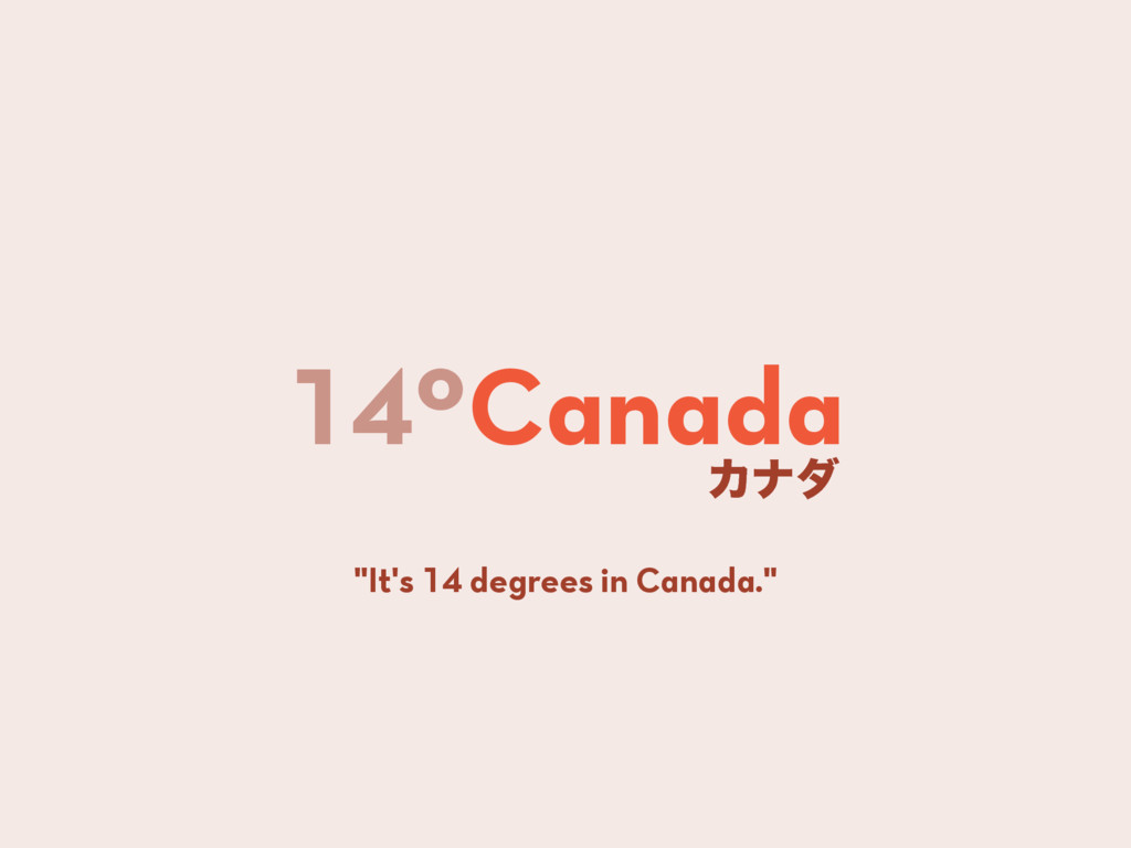 "14ºCanada Χφμ ""It's 14 degrees in Canada."""