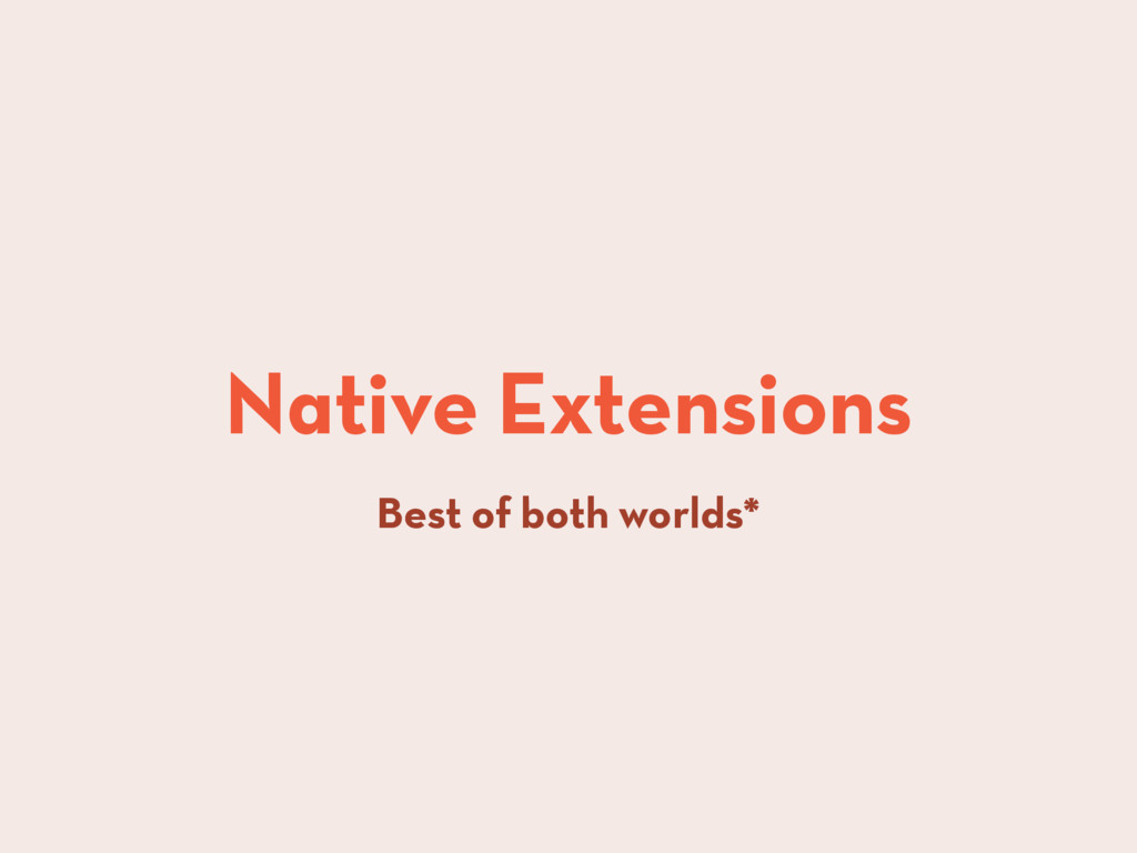 Native Extensions Best of both worlds*