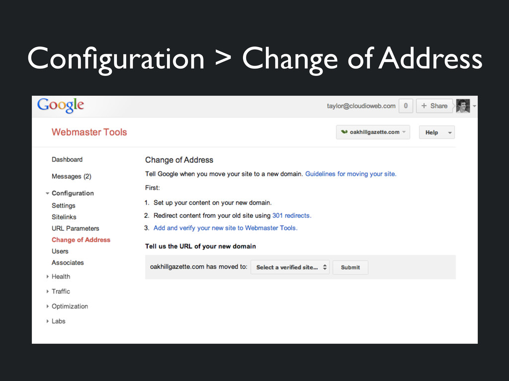 Configuration > Change of Address