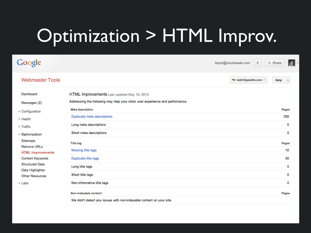 Optimization > HTML Improv.