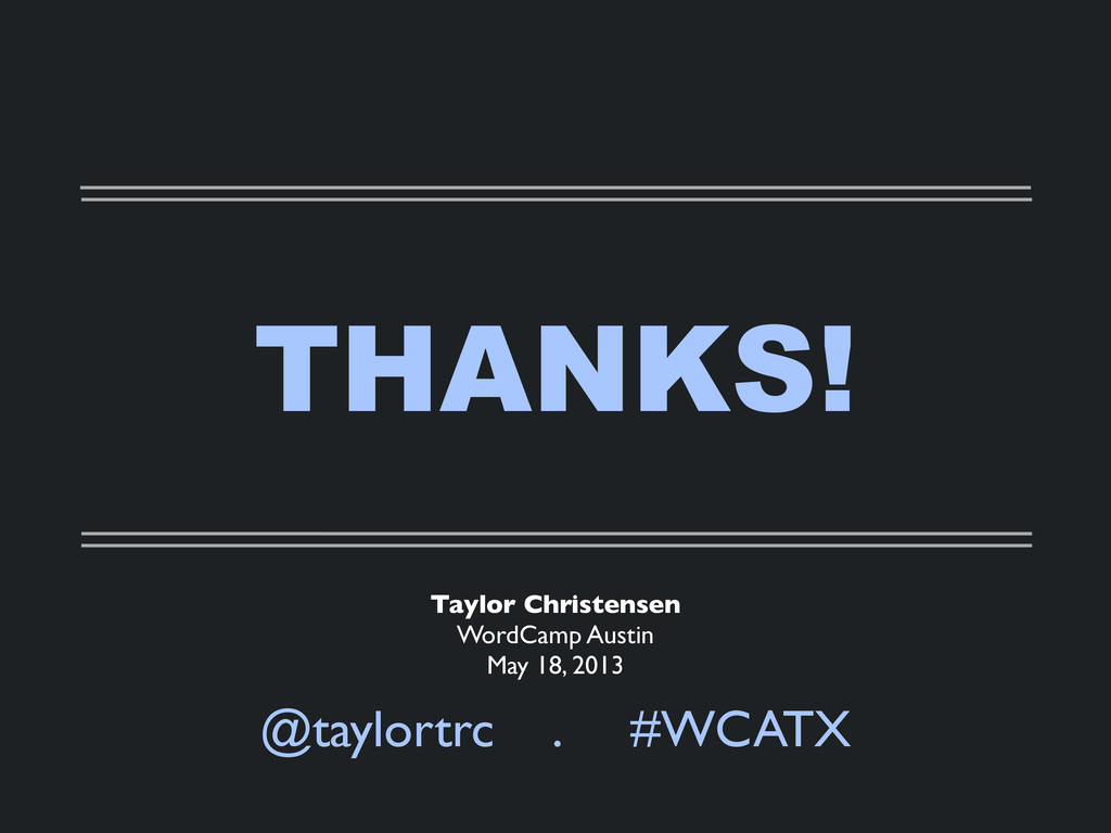 THANKS! @taylortrc . #WCATX Taylor Christensen ...