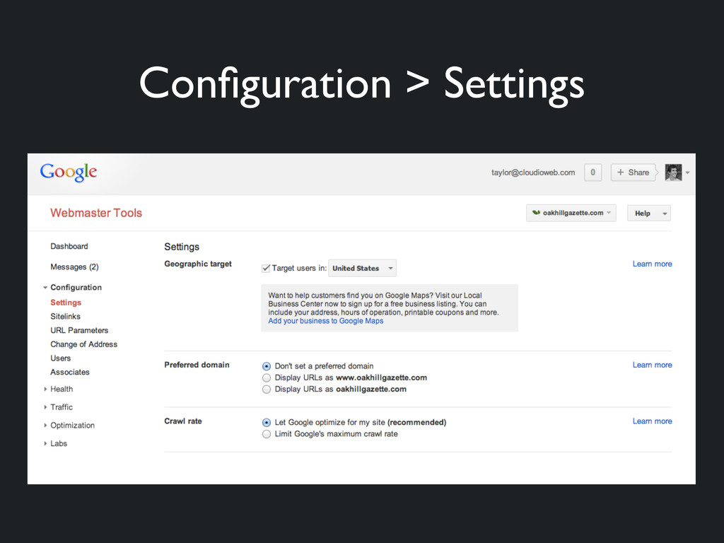 Configuration > Settings