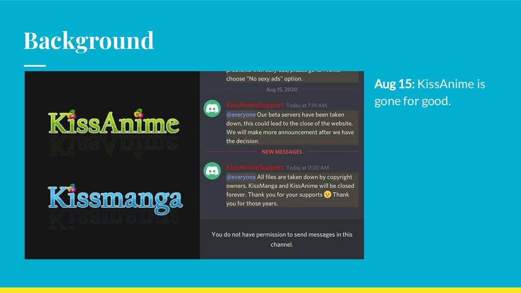 Background Aug 15: KissAnime is gone for good.