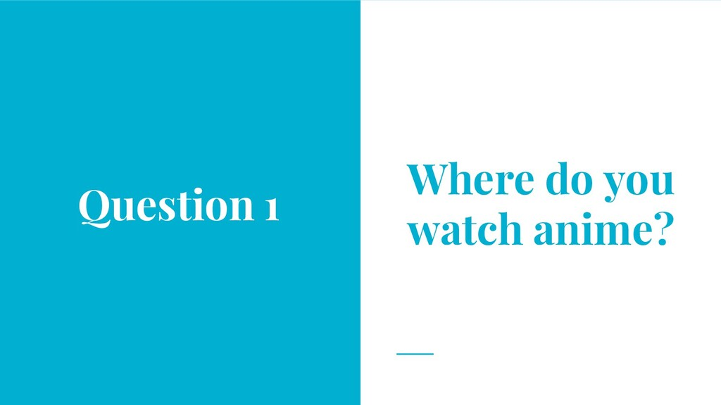 Where do you watch anime? Question 1
