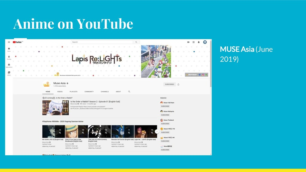 Anime on YouTube MUSE Asia (June 2019)