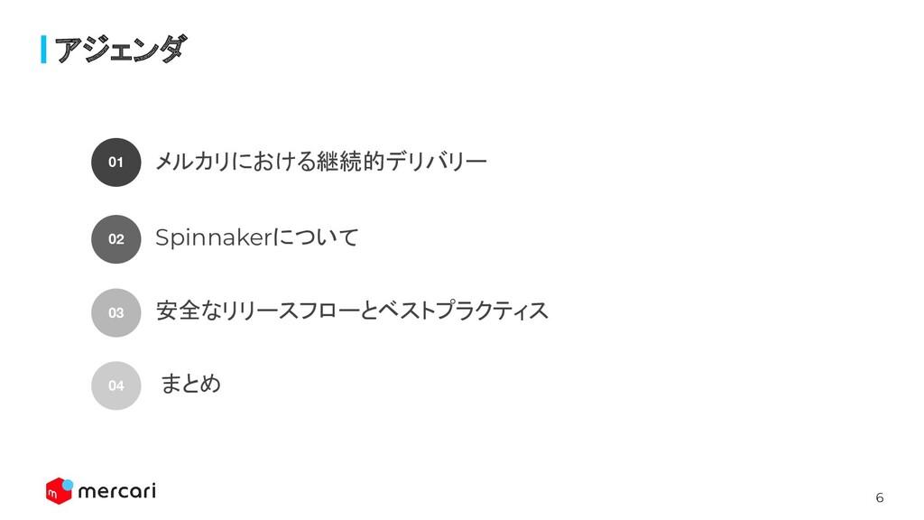 6 アジェンダ 01 メルカリにおける継続的デリバリー 02 Spinnakerについて 03...