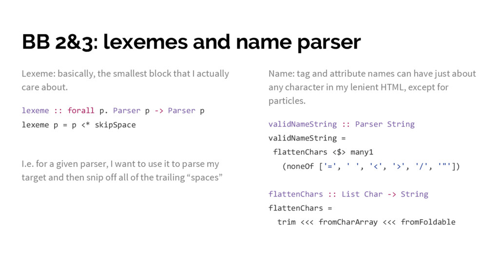 BB 2&3: lexemes and name parser Lexeme: basical...